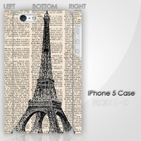 Vintage Paris Eiffel Tower Monogram Custom iPhone 5 3D Case Cover