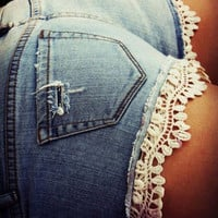 HypoxicAndLost - Handmade - BLUE FRILLY CROCHET Denim Cut Off Shorts