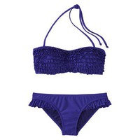 Target : Xhilaration® Junior's 2-Piece Blue Ruffle Bandeau Swimsuit : Image Zoom
