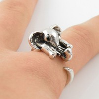 Silver Elephant Wrap Ring - SIZE 5
