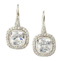 CZ by Kenneth Jay Lane - Pave Cushion-Cut Cubic Zirconia Earrings - Last Call