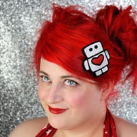Robot Hair Clip Cute Robot with Heart White and Red by JanineBasil