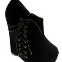 Black Suede Side Lace Wedge Boots - Boots - desireclothing.co.uk
