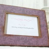 Purple 4X6 Picture Frame, Decorative, Damask, Old World Paper