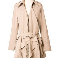 Lacy Ruffle Belted Trench coat by Chic