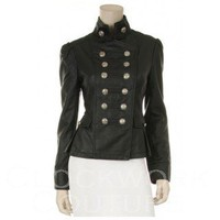 steampunk military faux leather jacket