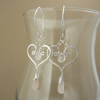 Heart earrings - sterling silver and rose quartz - Valentine's Day Jewelry - Unique earrings - gemstone jewelry - dangle