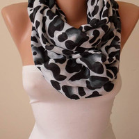 Valentine's Day Gift - Leopard  Infinity Scarf - Soft Cotton Fabric