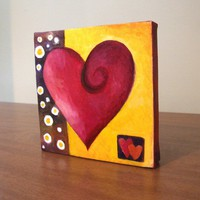 Original Painting MODERN ART HEART 5x5 Oil on Canvas by nJoyArt