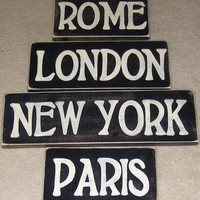 CITY SIGNS Set of 4 Rome London Paris New York