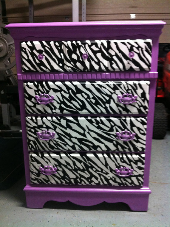 Custom Purple And Zebra Dresser From Owloutfitters On Etsy