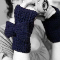 Blue Fingerless Gloves Crochet Gloves With by RubyLovesFlamingos
