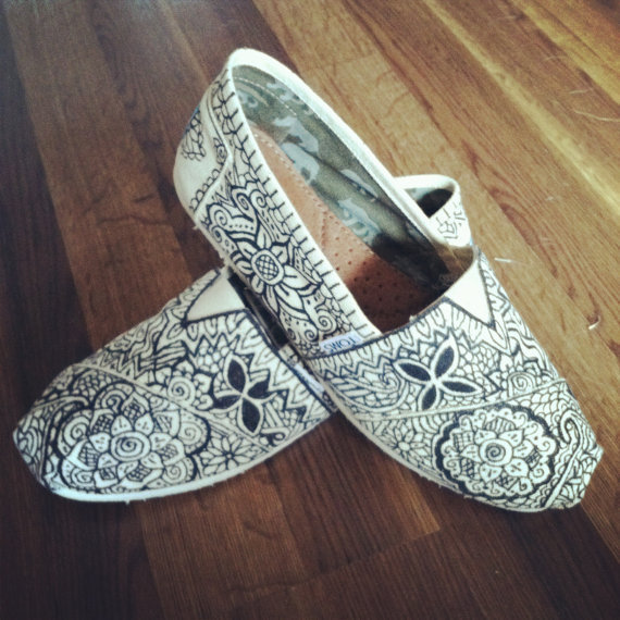 Custom handPainted Toms in Black on Tan Canvas by allisonayers