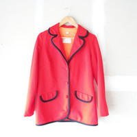 boyfriend coat / vintage coat / red jacket / preppy jacket