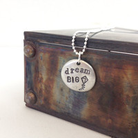 hand stamped necklace - dream big pendant - kite simple elegant silver jewelry - inspirational