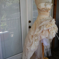 RESERVED for ASHLEY  1   Handmade Wedding Dress Mini Plus Tail Beige Roses Embroidered Appliques Size 10-12
