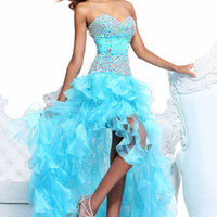 Blues Organza Long ASYM Pageant Formal Gowns Evening Party Cocktail Prom Dresses