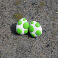 Yoshi Egg studs by TooCuteFelties on Etsy