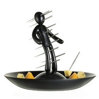 Amazon.com: The Ex Skewer Set with Unique Black Holder and Tray Designed By Raffaele Iannello: Kitchen & Dining