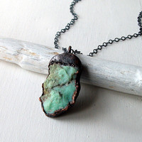 Copper Pendant Necklace Chrysoprase Mint by MidwestAlchemy on Etsy