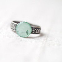 Mint bird ring Winter jewelry R040 y