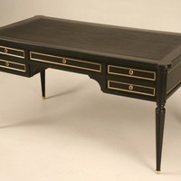 Antique French Ebonized Louis XVI Desk with Black Leather Top