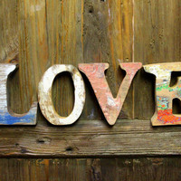 Beach Decor LOVE Sign  Vintage Nautical Wooden Letters by SEASTYLE