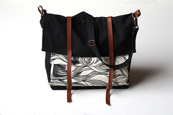black ships messenger bag by jennarosehandmade on Etsy