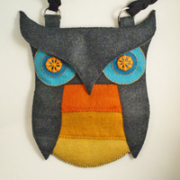 Felt Owl PurseGrey Orange Yellow and Teal Wool by IamCraftish