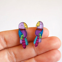 Tiny Parrots studs earrings by lacravatteduchien on Etsy