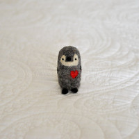 1 Gray Love Penguin with red heart  Perfect gift for by AdoraWools