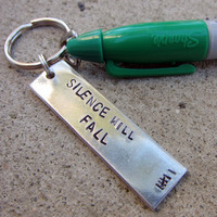 Silence will Fall - Dr Who quote with marker - Hand stamped Keychain -made to order-