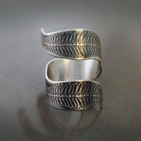 $86.00 Etched Fern Curl   Sterling Silver Ring  Nature by lisahopkins