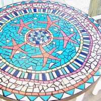 Starfish Design 42 inch Mosaic Tile Table Top