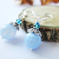 Blue Lace Agate Gemstone Sky Blue Pastel Sterling Silver Earrings
