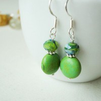 Handmade Jewelry Green Earrings Howlite Marble Fresh Meadow Bright