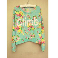 Stylish Scoop Neck Letter+Tiny Floral Print Batwing Cotton Blend T-Shirt For Women