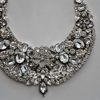 Bridal Statement Necklace,Bridal Jewelry,Bridal Statement Necklace Bib,Victorian,Swarovski Clear Crystals,Vintage Style,Ooak,Huge,GLORY