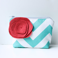 Zipper Pouch Cosmetic Bag  Teal Chevron Stripe by allisajacobs
