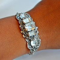 Bridal Filigree Bracelet,Swarovski CLEAR Bracelet,Vintage Style,Antique Silver,Old Hollywood,Bridal Jewelry,Vinatge Style,LUMINOSITY