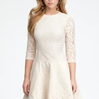bebe Lace 3/4 Sleeve Fit &Flare Dress