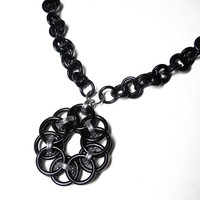Chainmaille necklace Black Gothic Statement by DoBatsEatCats