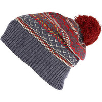 Red fairisle bobble beanie