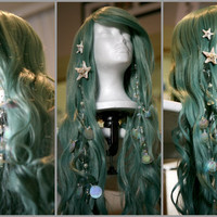 SEAFOAM MERMAID WIG: Couture, Original Mermaid-Inspired Wig designed by Traci Hines, Includes Your Choice of 2 Grotto Hair Accessories