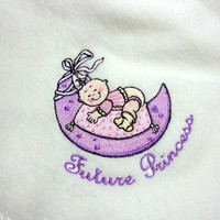 Baby Girl Blanket Handmade Fleece Embroidered Future Princess