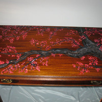 Antique elegant fold out painted cherry table by DueslerStudios