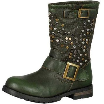 Women's Military Combat Mid Calf Studded Decorated Buckle Strap Ankle Booties Boots Fashion Shoes