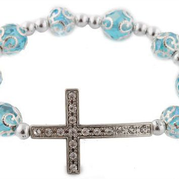 12 Pieces of Blue Iced Out Sideways Cross Ornamental Style Beaded Stretch Bracelet