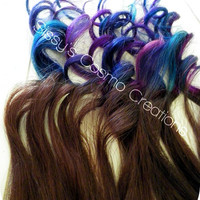 "ONE PIECE 12"" Purple Pink Teal Indigo Blue Brown Ombre Dip Dye Clip In Human Hair Extensions"