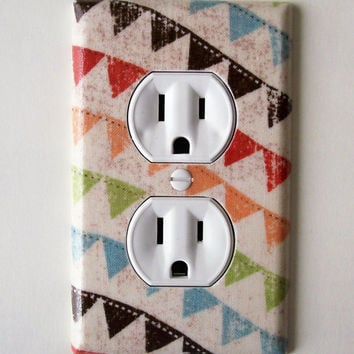 Colorful Bunting Outlet Plate, wall decor